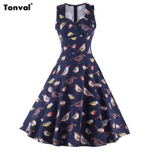 Tonval птицы pattern летом старинные платья женщин ретро 1950 s 60 s рокабилли свинг одри хепберн подколоть elegant dress