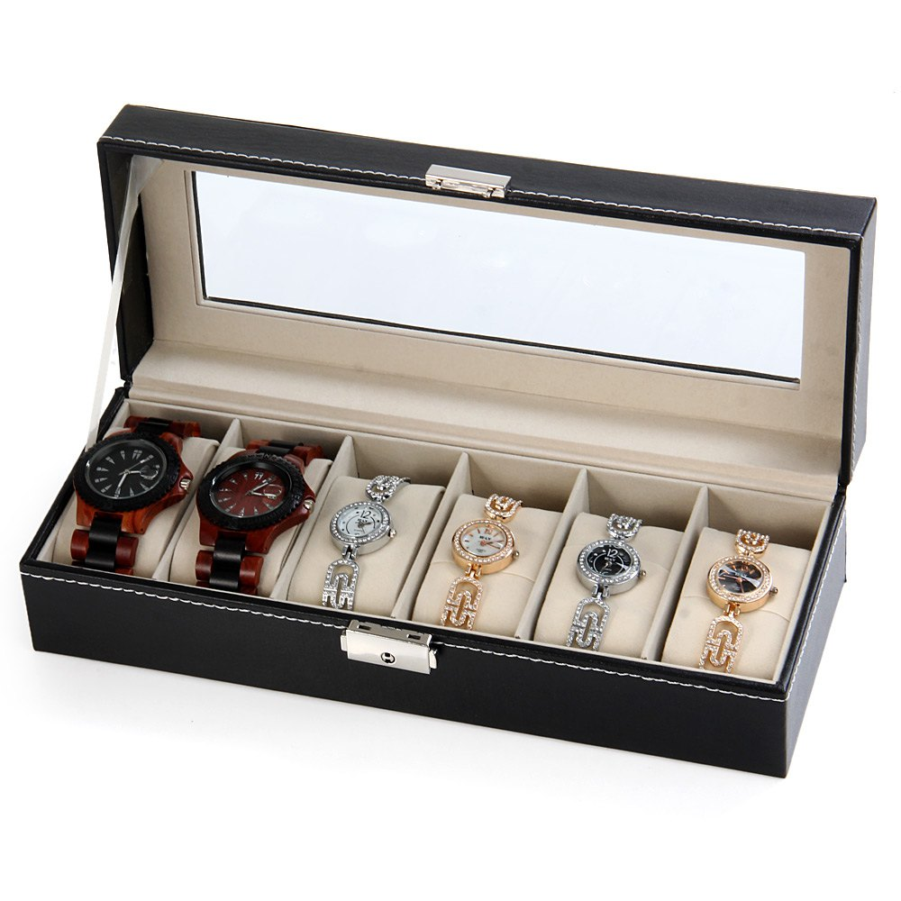 SIKAI Black 6 Grid Watch Box for Jewelry Organizer Watches Boxes Display Watches Storage Gift Box Holder Case Leather jewelry bobo bird watches display box organizer storage box leatherette wrist watch holder jewelry display case