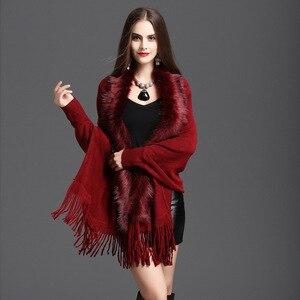 Image 2 - Nueva primavera para mujer abrigo de piel de zorro falso suéter de cachemira Poncho gris para mujer largo grueso tejido borla cárdigan capas