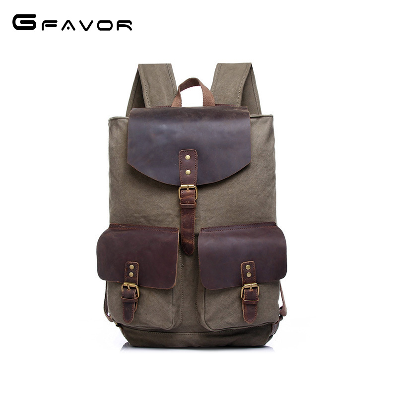 Factory Direct Foreign Trade Trend of Casual Canvas Bag Man Bag Computer Backpack Student Leisure Shoulder Bags Travel Daypack
