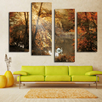 Nice White Swan Painting Fairy Multi Panel Canvas Wall Art Landscape Picture On Living Room