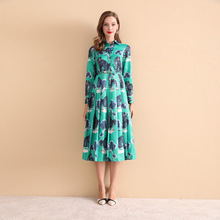 New 2018 autumn women lapel long sleeve dress Fashion animal cat print belted dress D427 eyes print belted dress