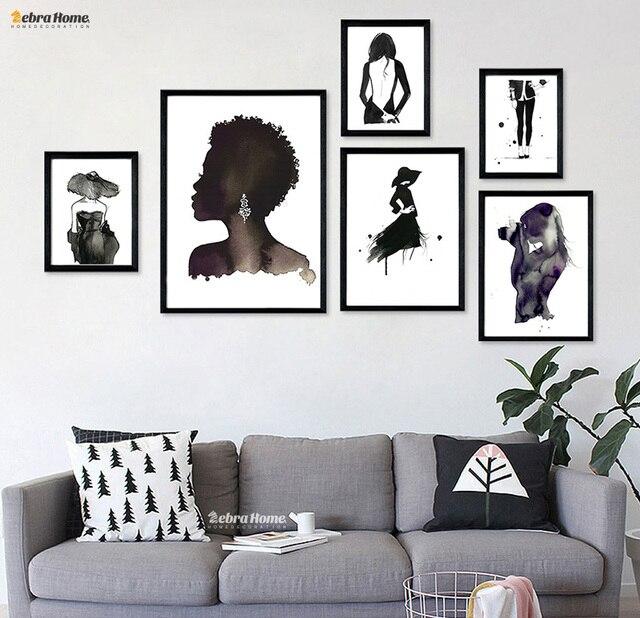 Mode Charakter Dame Leinwand Schwarz Weiß Malerei Poster Kunstdruck Bilder  Aquarell Für Wohnzimmer Dekoration