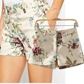 New Arrival Ladies Elegant Floral Prints Short Vintage Zipper Pockets Quality Shorts 19470