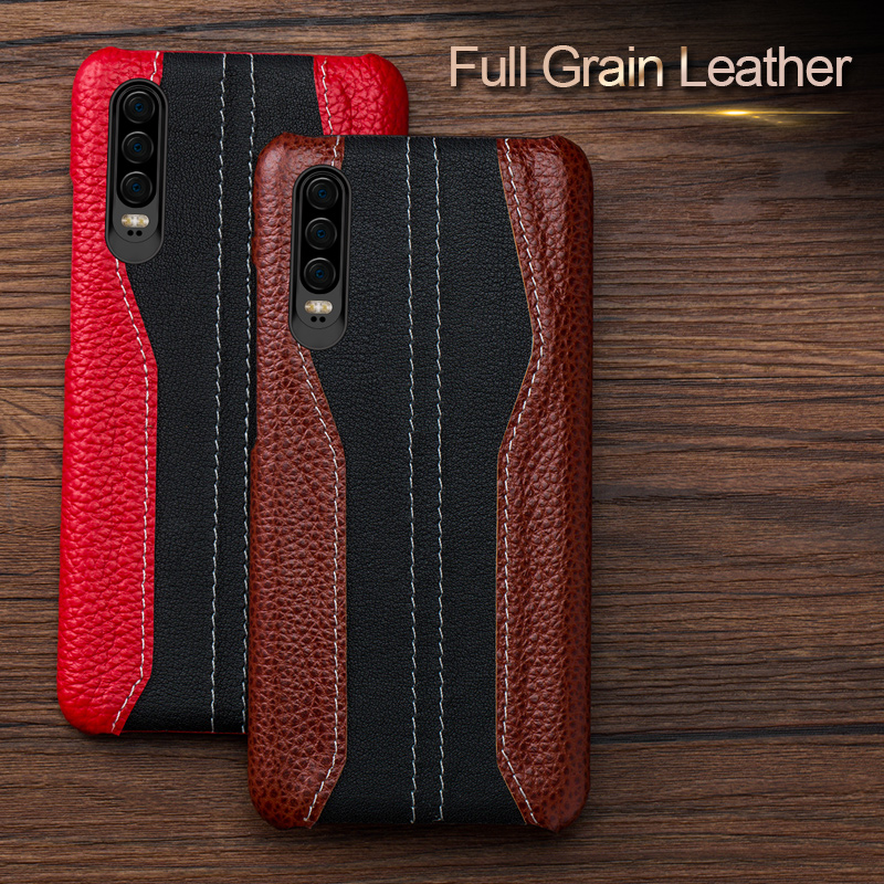 Genuine Leather Phone case For Huawei p20 p30 p10 lite pro shockproof Cover Leather Cowhide Cases for Huawei honor 20 pro 9x 8x