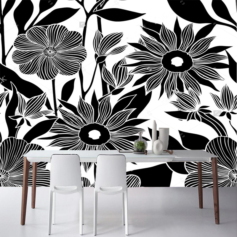 Black flower wallpaper,hand drawn flower,natural photo mural for the living room bedroom sofa background wall papel de parede flower