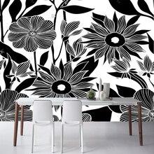 e223bb4e6 Preto flor papel de parede, flor desenhada à mão, natural foto mural para o  quarto sala de estar sofá fundo papel de parede de p.