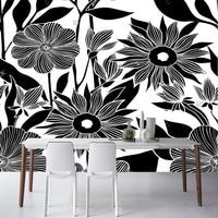 Noir fleur papier peint, dessinés à la main fleur, naturel photo mural pour le salon chambre canapé fond mur papel de parede