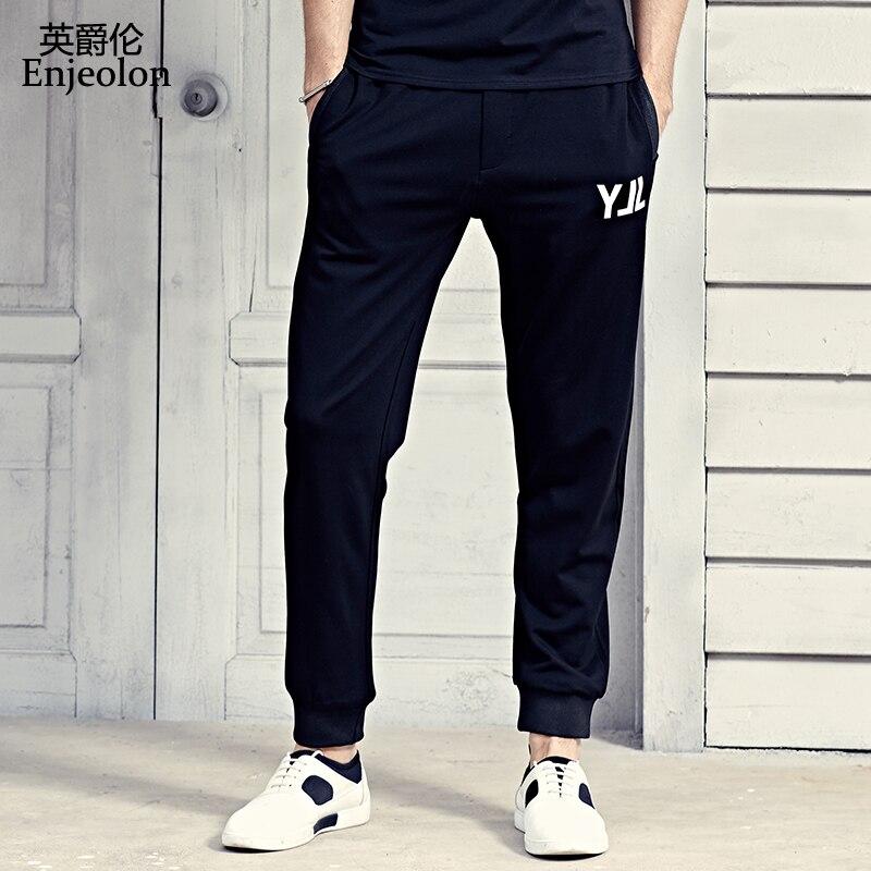 Enjeolon brand long trousers Black sweatpants men, high-quality drawstring clothing Straight males fashion Causal clothes K6228