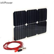 MVpower 18V 20W Portable Solar Power Panel Car Battery Bank Charger W/Alligator Clip