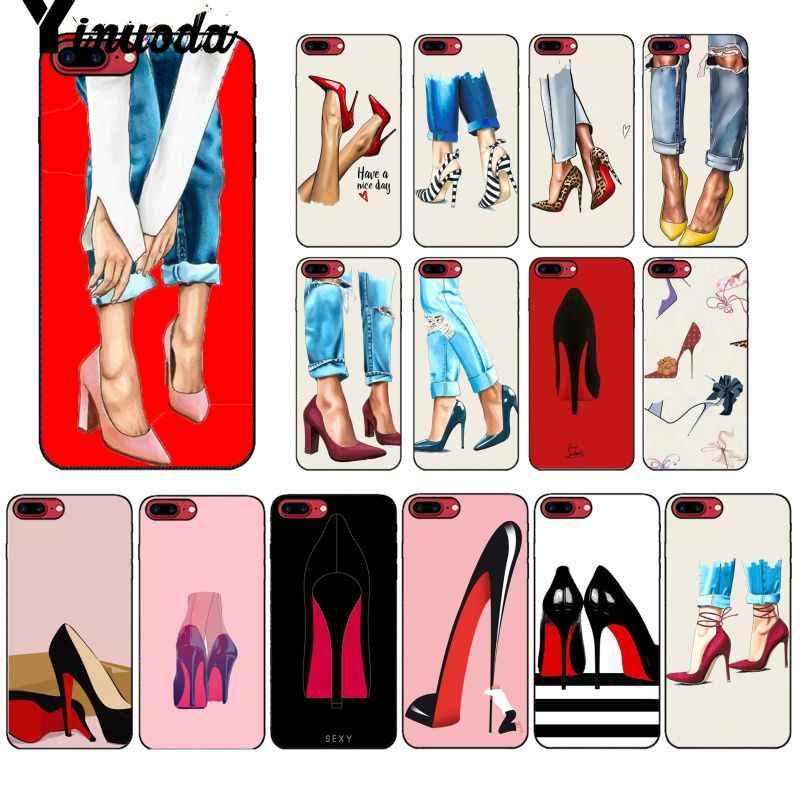 Yinuoda kırmızı yüksek topuk ayakkabı Siyah Yumuşak Kabuk Telefon Kapak için iPhone X XS MAX 6 6S 7 7 artı 8 8 Artı 5 5S XR