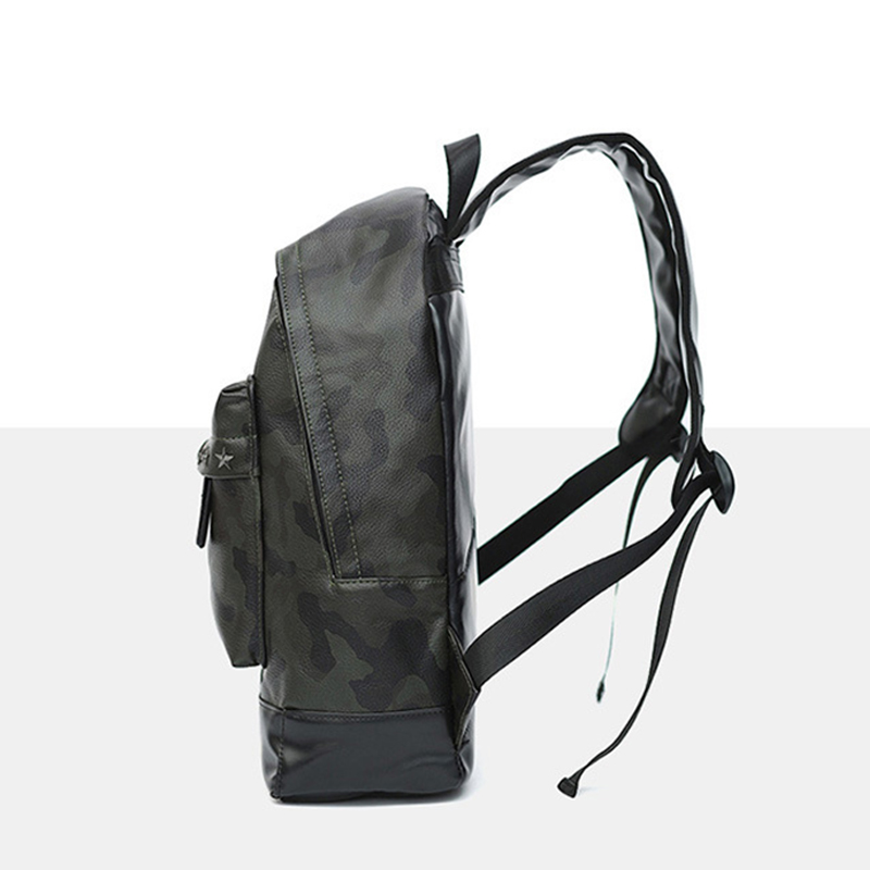 Men Camouflage PU Leather Backpack Rivets High Quality Casual Backpacks Youth School Bag Laptop Backpack Women Backpack 4