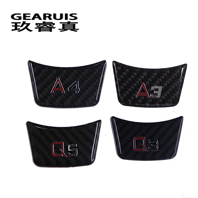 Car Styling Carbon Fiber Stickers Steering Wheel Decoration Car Covers For Audi A4 B7 B8 A1 A3 8v A5 A6 C5 C6 C7 A7 A8 Q3 Q5 Q7 genuine leather car steering wheel cover for audi a4l a6l a3 q3 q5 q7 car accessories styling