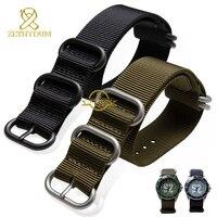 Perlon watchband nylonowy pasek do zegarka wodoodporny zegarek sportowy pasek czarny zieleń wojskowa 18 20 22 24 26mm koło ze stali nierdzewnej klamra