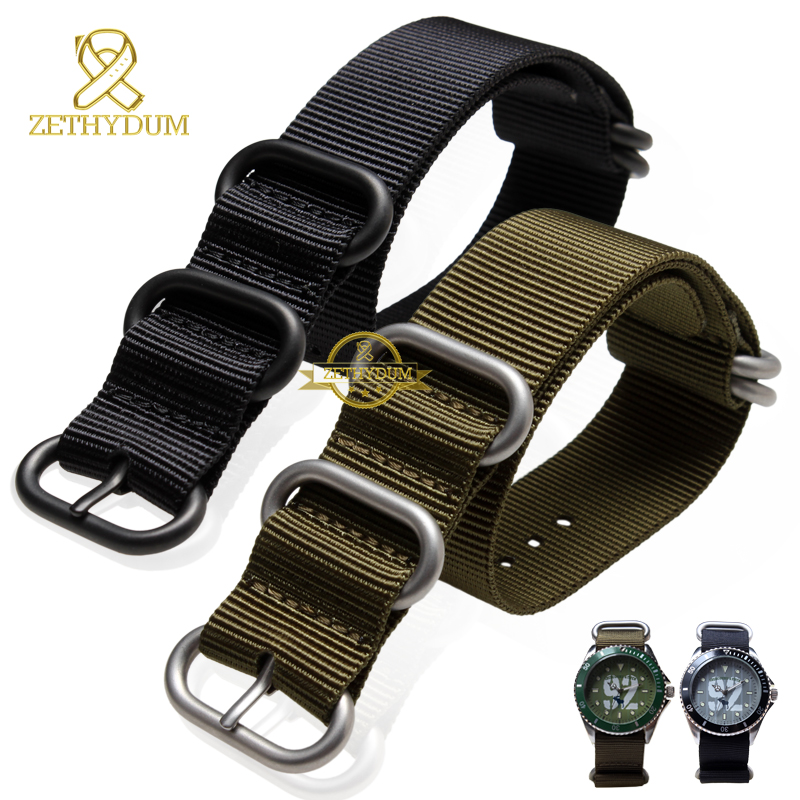 Perlon watchband Nylon watch strap waterproof sport watch band black army green 18 20 22