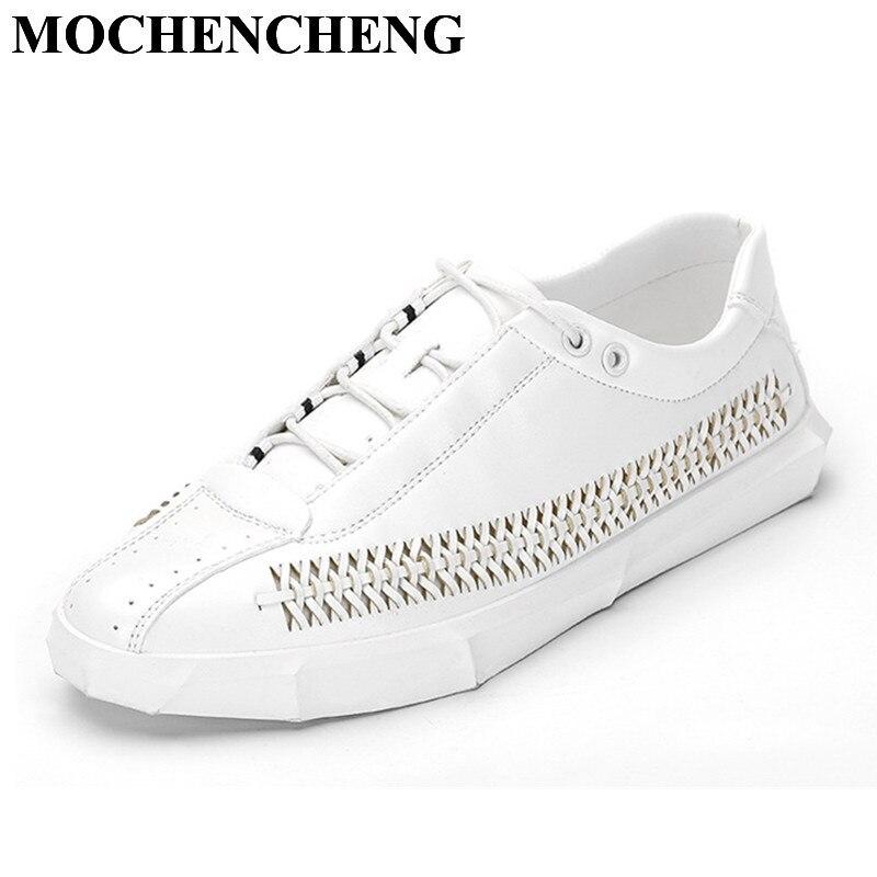 Nouvelle Hommes chaussures décontractées pour Printemps Été Respirant Main Weave qualité supérieure Dur-portant des Chaussures à lacets chaussures plates Blanc