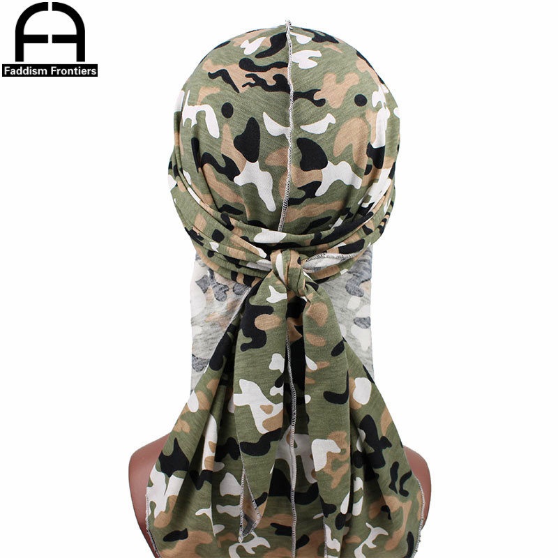 Fashion Men 39 s Durags Turban Bandanas Stitching Outside Camouflage Print Men Durag Headwear Headband Pirate Hat Hair Accessories in Men 39 s Headbands from Apparel Accessories