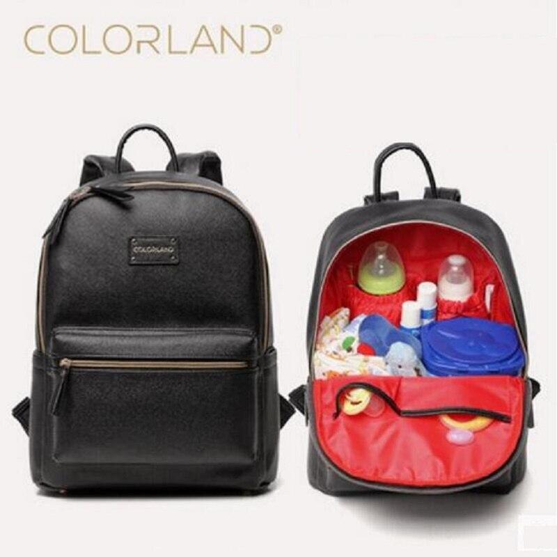 Colorland PU cuir bébé sac organisateur fourre-tout sacs à couches maman sac à dos mère maternité sacs couche-culotte grand sac à couches