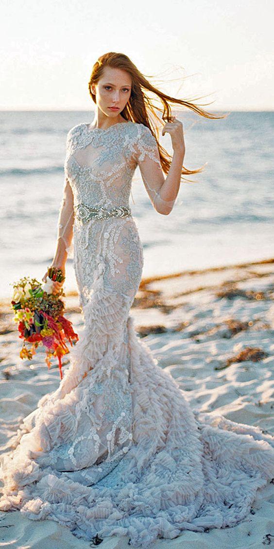 2016 New Free Shipping Elegant Charming O Neck Three Quarter Light Blue Lace Mermaid Wedding Dress Long Sweep Train VB081 In Dresses From Weddings
