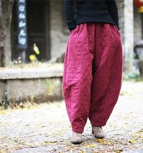 Image 5 - Женские свободные штаны YoYiKamomo, плотные теплые шаровары с хлопковой подкладкой, Однотонные эластичные брюки большого размера, 2018