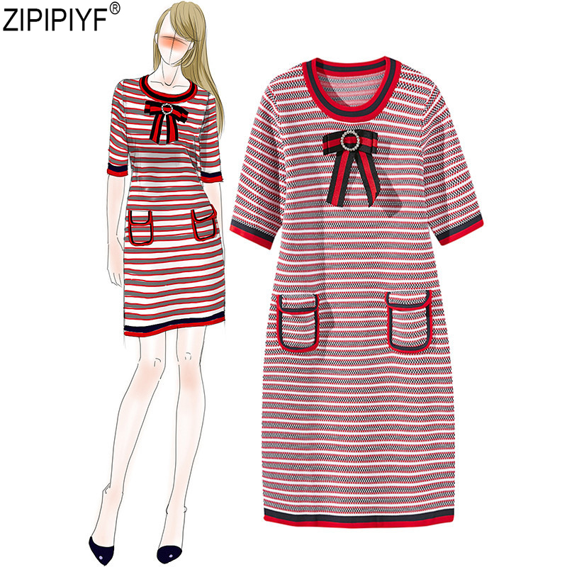 women Vintage Bow casual Striped Pencil dress runway dress designer Pocket knitted O-neck Short Sleeve Above Knee dress C208 hidden pocket striped dress
