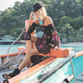 Women S Vacay Fave Street Style Mini Dress Summer Off Shoulder Peacocks and Floral Print Bohemian Mini Dress