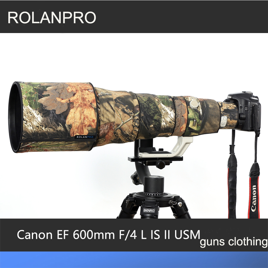 ROLANPRO Lens Case Camouflage Rain Cover for Canon EF 600mm F/4 L IS II USM Lens Protective Sleeve Guns Clothing Camera Bag DSLR rolanpro lens camouflage rain cover for canon ef 200mm f 2 l is usm lens protective case guns cotton clothing