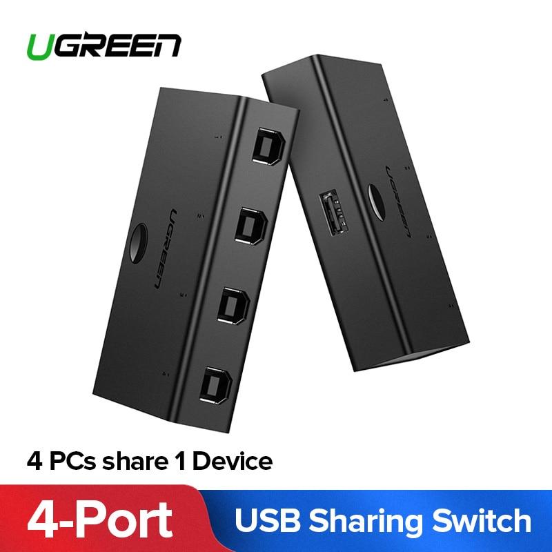Ugreen Kvm-switch USB Sharing Switcher 4/2 PCs Teilen 1 Gerät 4/2 Port KVM Selector für Tastatur Drucker Monitor USB kvm-switch