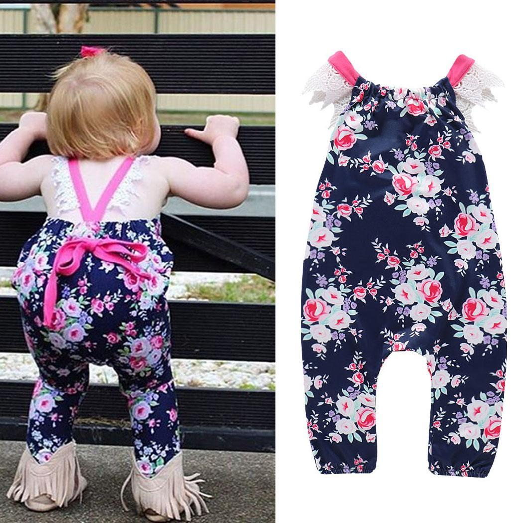 Kids Girl Cute Square Collar Sleeveless Full Length Lace Bow Lace, Print Children Summer Casual Jumpsuit(China)