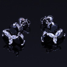Flawless Black Cubic Zirconia White CZ 925 Sterling Silver Stud Earrings For Women V0174 valuable round green cubic zirconia white cz 925 sterling silver stud earrings for women v0195