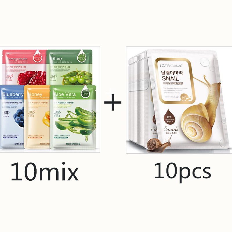 Image 2 - 20pcs BIOAQUA Sheet Mask Snail Essence Dope Korea Skin Care Face  Mask Combo Plant Extract Aloe Vera Olives Honey Facial MaskTreatments