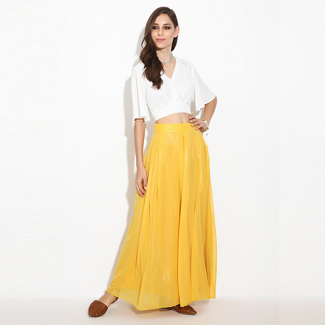 13c35a181 Custom Made Elegant Full Length Skirt Zipper Ribbon Waistline A Line Floor  Length Maxi Skirt Long Yellow Chiffon Skirts Women