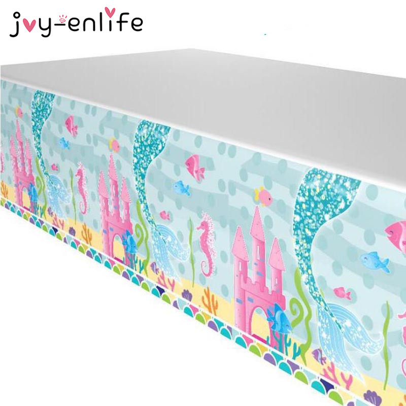 JOY-ENLIFE Mermaid Theme Party Tablecloths Kids Birthday Party Supplies Table Cover Birthday Party Decoration Supplies 100x180cm