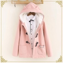 Lovely cat pockets warm hooded winter coat women jacket horn button plus velvet 3colors M,L
