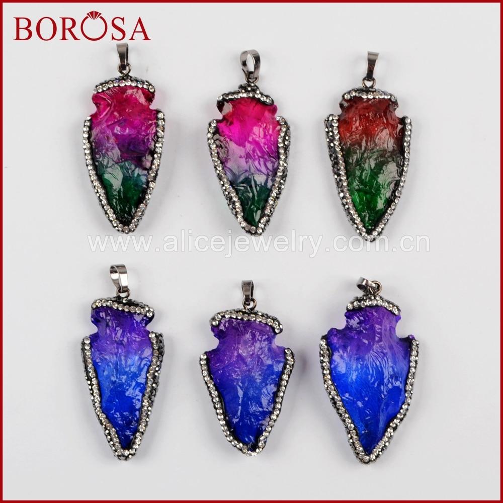 BOROSA 510PCS Arrowhead Rainbow Quartz Pendant Drusy Rhinestone Paved Zircons Quartz Ja-sper Gems Jewelry for Necklace JAB919
