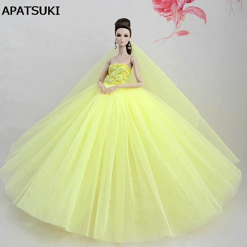 Light Yellow Doll Dress For Barbie Doll High Quality Long Tail Evening Gown Clothes Wedding Dress +Veil 1/6 Doll Accessories