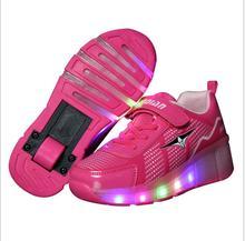 NEW 2017 Child Wheel LED Light wheel Roller Skate Luminous Shoes For Children Kids Junior Girls Boys Sneakers With Wheel