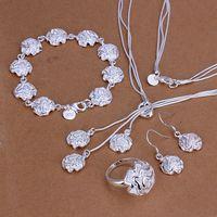 925 sterling silver jewelry set, fashion jewelry set Roses Ring Earrings Bracelet Necklace S267 /cojalfqa czgalqna LKNSPCS267