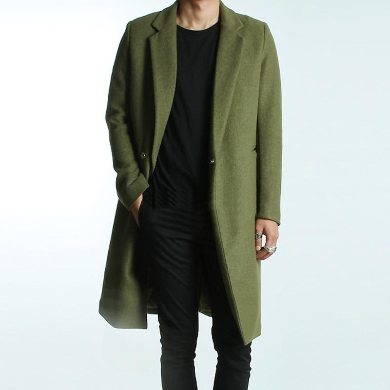 Aliexpress.com : Buy New men's winter green woolen trench coat ...