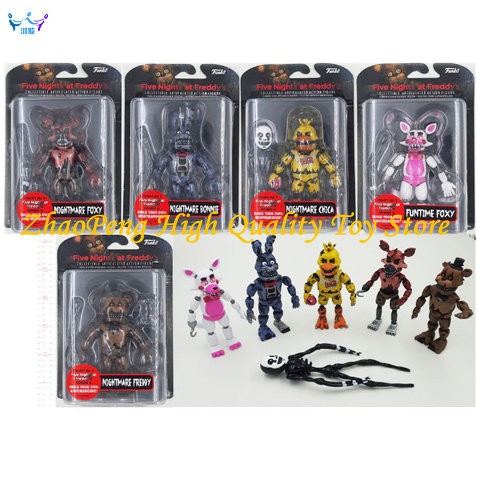 цены  6 Pcs/set Lightening Movable joints Five Nights At Freddy's Action Figure Toys Foxy Freddy Chica PVC Model Dolls With kids toys