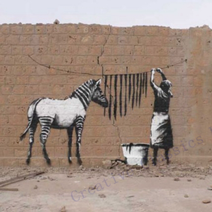 Free Shipping Banksy Zebra Stripes Wash Vinyl Wall Sticker - Zebra stripe wall decals