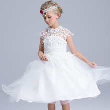 High quality summer maxi dress for children Evening party princess dress kids Flower girl lace Tulle white wedding dresses