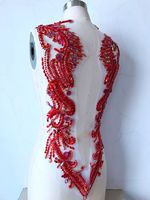 hand made red sew on Rhinestones applique on mesh crystal patches trim 62*39cm for dress back