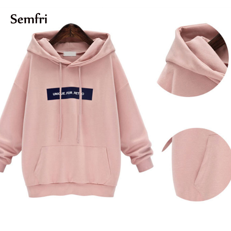 Semfri Fashion Female Pink & Gray Hoodie Sweatshirt 2019 Women Spring Autumn Drawstring Tracksuit Thicken Hooded Harajuku