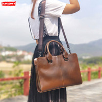 Business Women briefcase female Personality retro laptop handbags crazy horse leather fashion shoulder Messenger bags