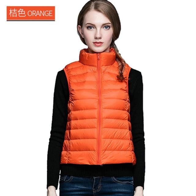 Autumn winter New Korean version of the sleeveless vest white duck down jacket Slim short down jacket winter ladies jacket vest