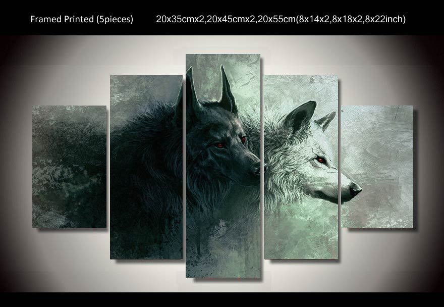 hd printed wolf 5 piece painting wall art canvas print