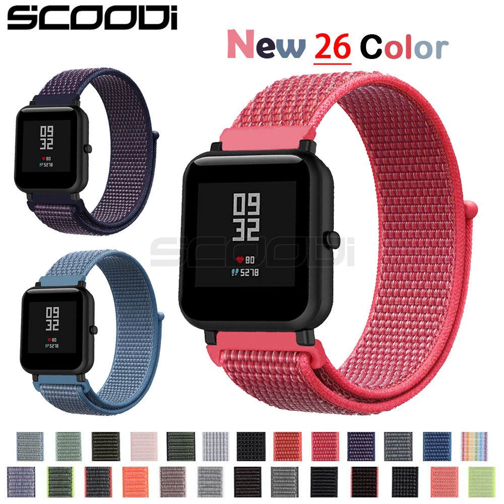 New20mm Nylon Loop Woven Strap for Xiaomi Huami Amazfit Bip BIT Lite Youth Smart Watch Wearable Wrist Bracelet Amazfit Watchband-in Smart Accessories from Consumer Electronics