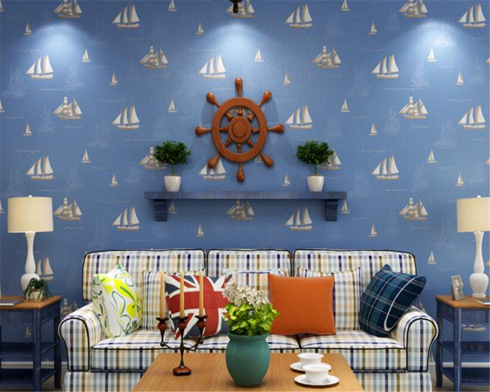 Beibehang Blue Mediterranean sailing childrens room wallpaper big nautical boat non-woven wallpaper boy bedroom 3d wallpaperBeibehang Blue Mediterranean sailing childrens room wallpaper big nautical boat non-woven wallpaper boy bedroom 3d wallpaper