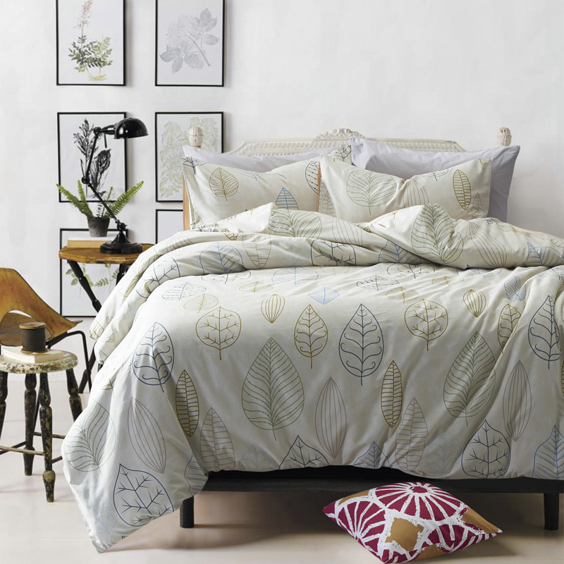 100 Cotton Leaf Pattern Bedding Set Home Bed Sheets Duvet